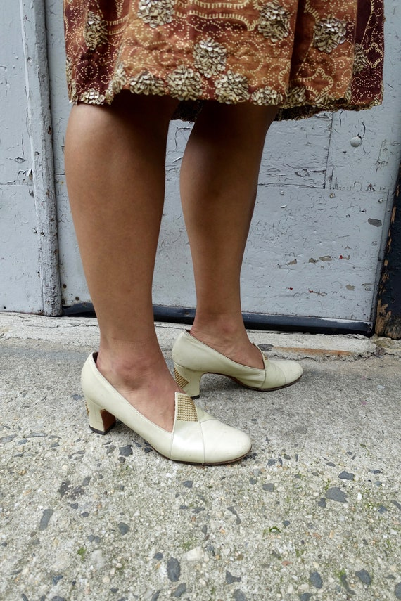 1960's Ecru Studded Loafer Heels