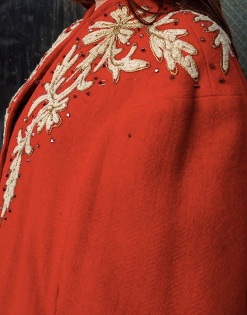 Early 1940/'s Red Wool Embroidered Cape