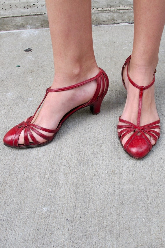 Early 1960's Red Leather T-Strap Heels