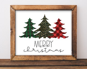 Leopard and Plaid Christmas Sign.  Merry Christmas. Christmas Farmhouse Sign Christmas Decor. Printable INSTANT DOWNLOAD Digital File.