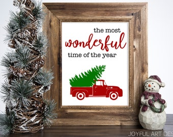 Red Truck Christmas Sign.  The Most Wonderful Time of the Year Christmas Decor. Printable INSTANT DOWNLOAD Digital File.