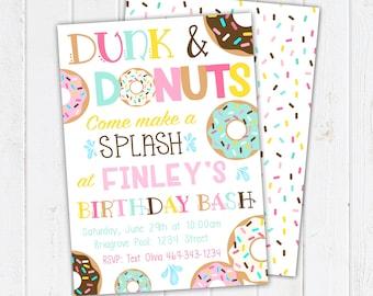 Dunk and Donuts Birthday Invitation. Donut Party Invitations. Donut Girl Birthday. Donut Party Supplies. Printable Invitations & Thank You
