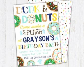 Dunk and Donuts Birthday Invitation. Donut Party Invitations. Donut Boy Birthday. Donut Party Supplies. Printable Invitations & Thank You