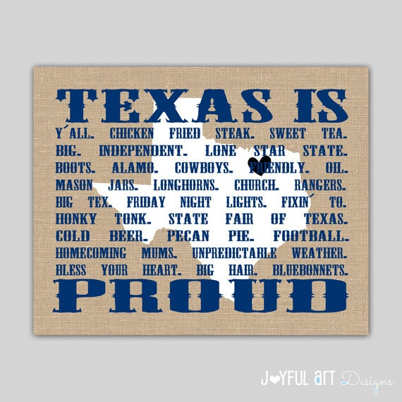 Texas Words PRINTABLE  List of Words that describe Texas on Burlap  Background  Hey Y'all  State of Texas sign  Wall Art DIGITAL file