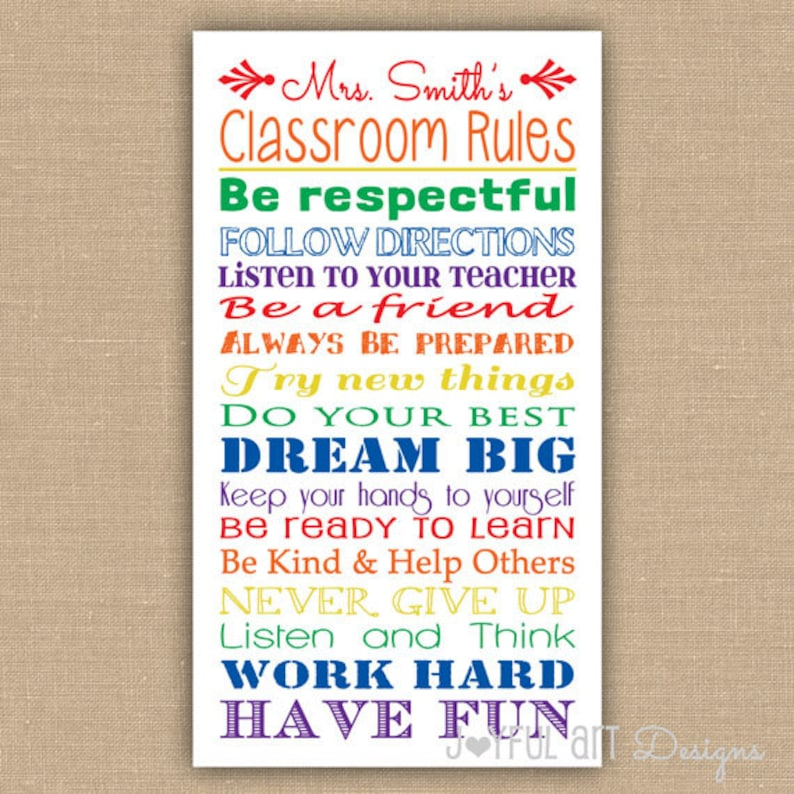 image regarding Classroom Rules Printable named Tailor made Developed Clroom Pointers PRINTABLE. Clroom Indication Subway Artwork. Instructor Appreciation. Clroom Decor. Instructor Wall Artwork.