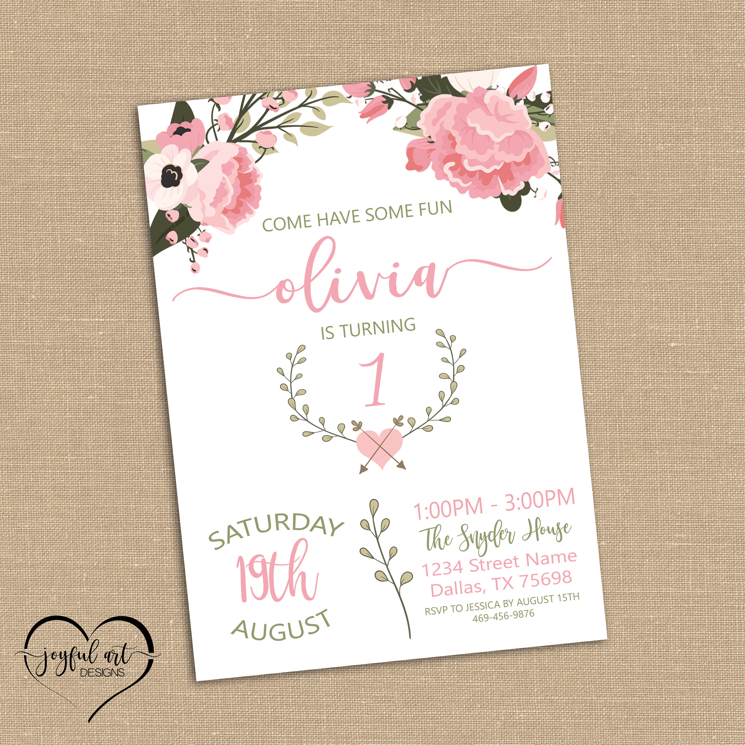 First Birthday Party Invitations for a Girl. 1st Birthday. | Etsy