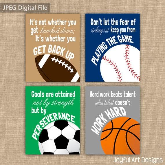 Set Of 4 Motivating Sports Quotes Printable Signs Football Soccer Baseball Basketball Wall Art Boy Bedroom Decor 4 Digital Files