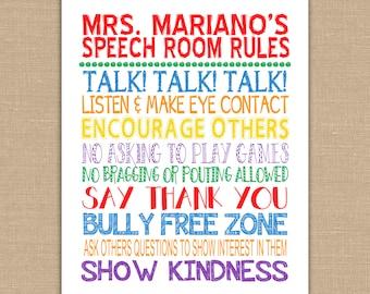 Speech Room Class Rules PRINTABLE.  Classroom Sign Subway Art. Teacher Appreciation. Classroom Decor. Speech Teacher Wall Art.  DIGITAL FILE