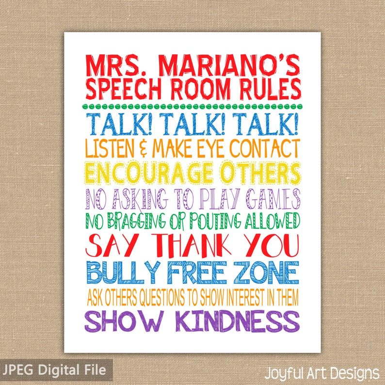 photograph regarding Free Printable Classroom Rules Poster named Speech Space Cl Legislation PRINTABLE. Clroom Signal Subway Artwork. Trainer Appreciation. Clroom Decor. Speech Trainer Wall Artwork. Electronic History