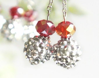Red and Silver dangle earrings.