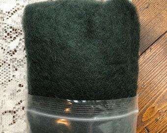 Deep Teal Green Felting Wool, Needle Felting Supplies, Wool Batting, Wool Fiber, Carded Wool Blend, Coopworth, Corriedale, Felting Tools