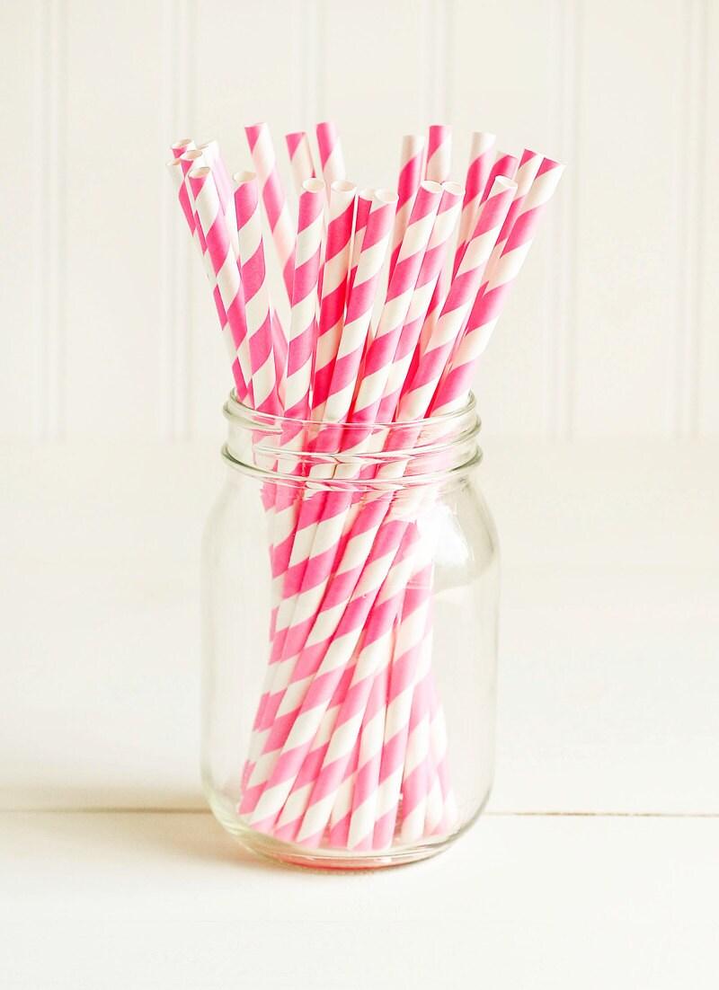 Paper Straws in Bright Pink & White Stripes Set of 25 | Etsy
