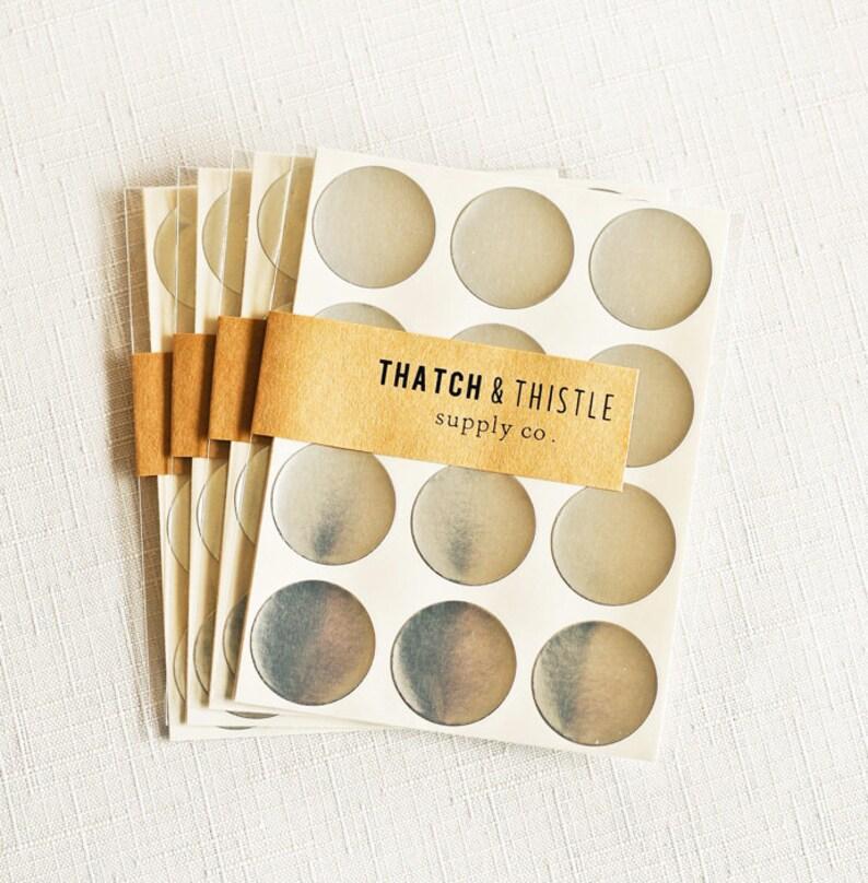 SALE 96 Metallic Silver Circle Stickers  1 Inch Envelope image 0