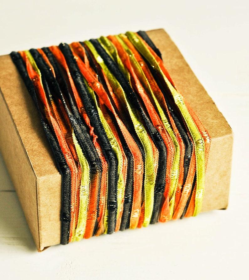 BULK SALE 75 Yards Ribbon Twine in Black Orange & Green  image 0