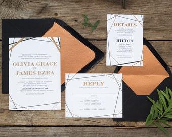 Olivia Suite -Wedding Invitation Suite, Modern Wedding Invites, Formal Invitation Set, Simple invitations, Geometric wedding invitations
