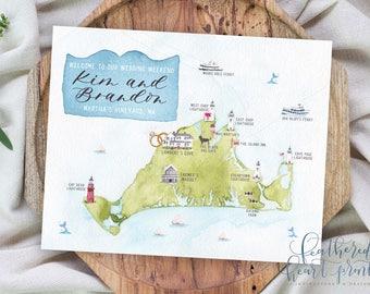 Custom Hand Painted Watercolor Wedding MAP-Any Location Available-Marthas Vineyard-Destination Wedding, Philly Wedding, Philadelphia Map