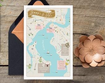 Custom Map, Jacksonville Map, Wedding Map ,Destination Wedding, Florida Map Design, Custom Illustrated Map, Save the Date, Timuquana Club