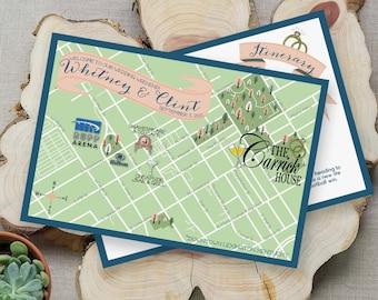 Custom Map, Kentucky Map, Wedding Map ,Kentucky Wedding, Lexington Wedding Map Design,Custom Illustrated Map, Wedding Itinerary, Guest bag