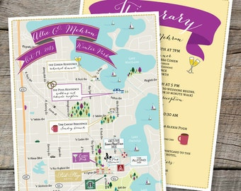Custom Map Design, Winter Park Map, Wedding Map ,Destination Wedding, Florida Map Design, Custom Illustrated Map, Itinerary, Out of town bag