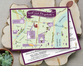 Custom Map, Philly Map, Wedding Map ,Destination Wedding, Philadelphia Map Design, Custom Illustrated Map, Wedding Itinerary, Guest bag
