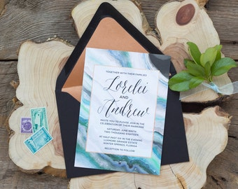 Lorelei Suite - Geode Wedding Invitation Suite, Gemstone Wedding Invites, Agate Geode Invite, Nautical Invitation Set, Beachy invitations