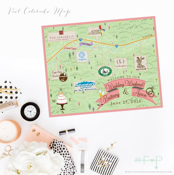 Custom Wedding Map, Custom Vail Colorado Map, Vail CO wedding Map, Custom  Map Design, Custom Illustrated Map, Itinerary, Out of town bag