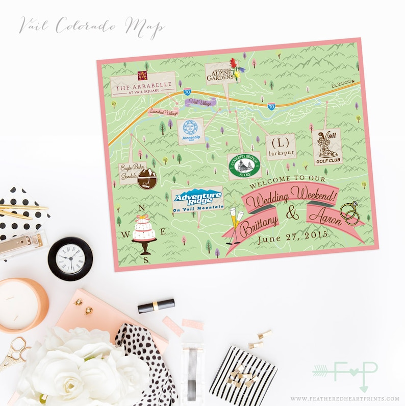 Custom Wedding Map Custom Vail Colorado Map Vail Co Wedding Etsy
