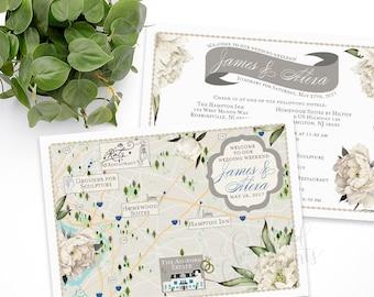 Custom Wedding MAP-Any Location Available-New Jersey Map-Jersey Wedding, Destination Wedding- Wedding Itinerary, The ashford estate, NJ Map