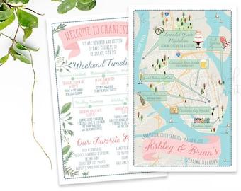 Charleston Map, South Carolina, Custom Wedding MAP, Any Location Available-Destination Wedding, City Map- Wedding Map and itinerary timeline