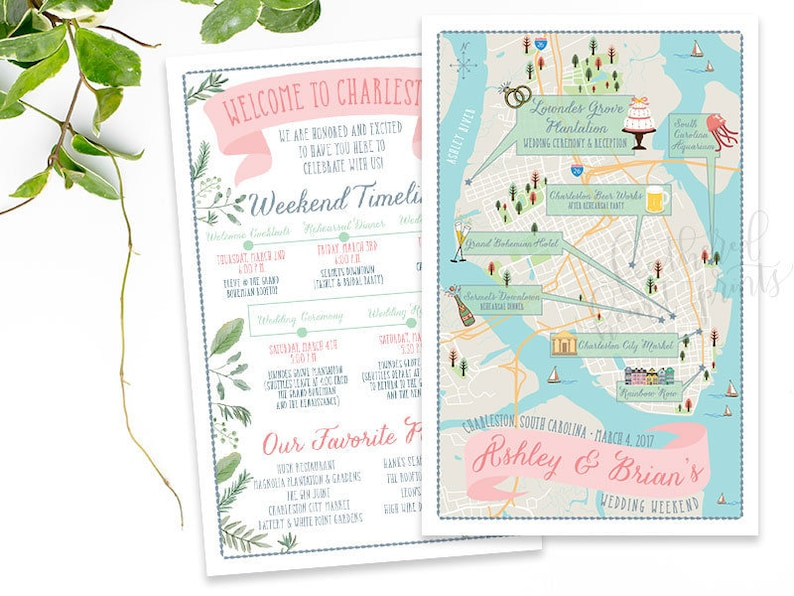 Charleston Map South Carolina Custom Wedding MAP Any | Etsy on