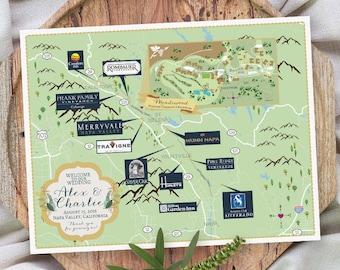 Custom Map, Napa Valley Map, Wedding Map ,Destination Wedding, California Map Design, Custom Illustrated Map, Wedding Itinerary, Guest bag