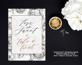Instant Download- Love is sweet, Take a treat, printable sign, Wedding Shower Favor Sign, Bridal Shower Treats, Cute Wedding Shower Decor