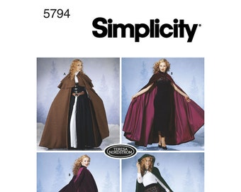 5794, Simplicity, Hooded, Cape, Cloak, Little Red Riding Hood, Lord of the Rings Robe, Obi Wan, Medieval, Hooded Cloak, Hooded Cape