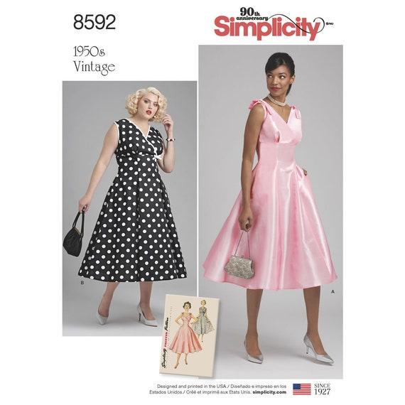 40 Simplicity 40's Dress Pattern Retro 40's Etsy Enchanting 50s Style Dress Patterns