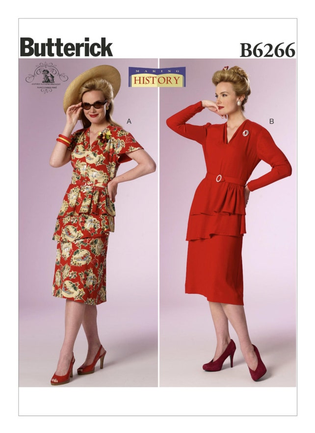 6266 Butterick Making History 40s Swing Dress Big Etsy