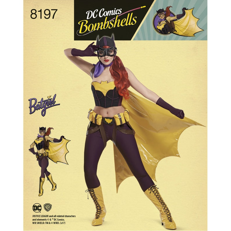 Simplicity 8197, D C  Comics Bombshells Bat Girl Costume, DC Comics  Costume, Halloween Costume, Cosplay, Female Batman,Superhero costume
