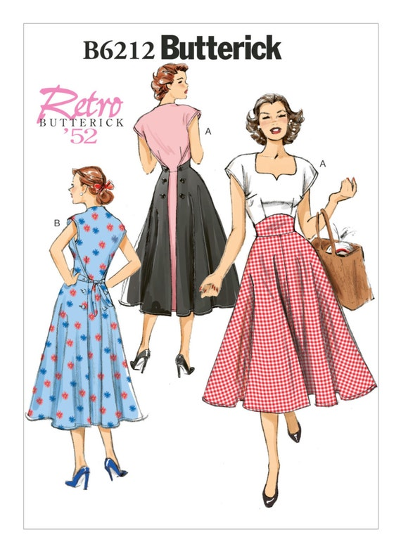 Butterick 5813 Sewing Pattern to MAKE Retro /'56 Misses Dress Fitted Thru Bust