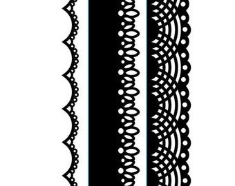 Darice® Embossing Folder Borders - Laces - 1.5 x 5.75 in - 3 pieces, scrapbooking, card making, greeting cards, invitations and more