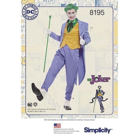 8195 Simplicity Men S D C Comics Joker Costume Batman Villain Movie Joker Costume Heath Ledger Joker Costume Dc Comics Villains Costume