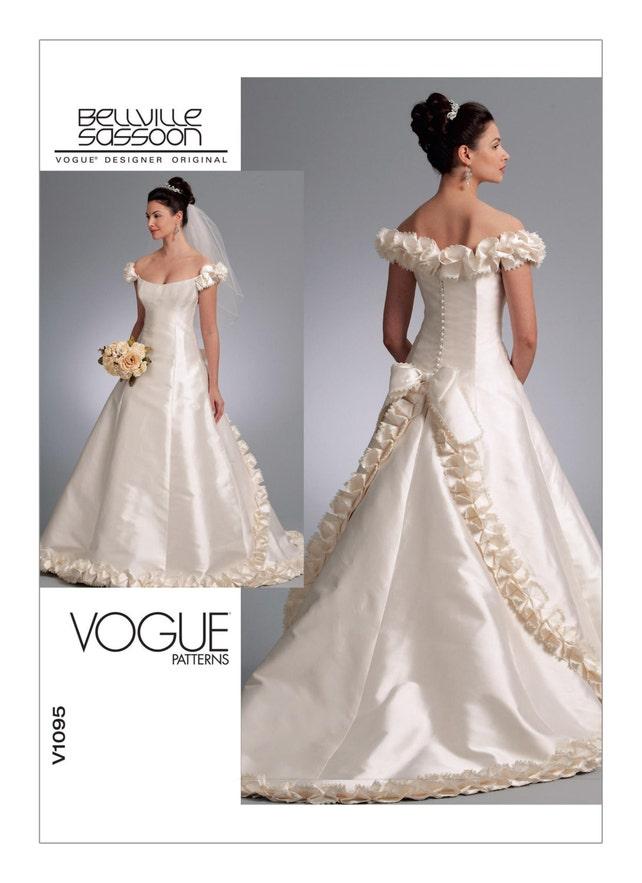 1095 Vogue Wedding Dress Pattern Train Bridal Gown Formal | Etsy