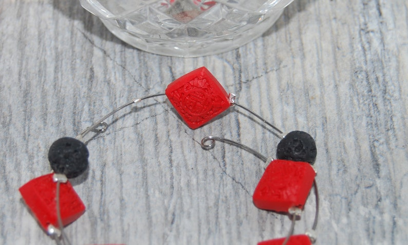 canadian seller ethnic style jewellery Lava Stone and Carved Cinnabar Memory Wire Bracelet gift for her gift under 25