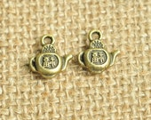 15pcs Antique Bronze Happiness Chinese Letter Teapot Charms 14x13mm MM404