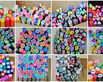 50pcs Polymer Clay Fimo Cane Stick Assorted Mixed Sexy Nail Art Manicure Deco Earring Scrapbooking Design Kawaii 502001