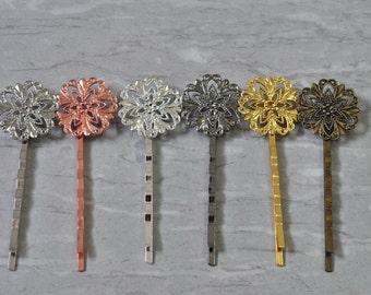 10pcs Brass Hair Clip Bobby Pin Hair Pin Flower Pattern 20x55mm N557