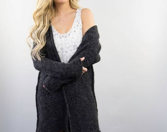 740f09d3a7 Chunky knit women cardigan. Alpaca Oversized woman cardigan. Black charcoal  grey cardigan.