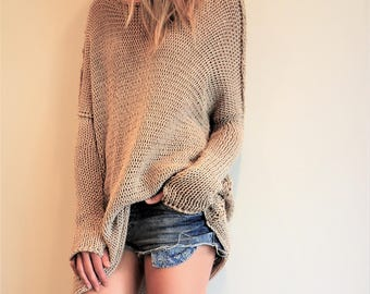 New Oversize Chunky knit sweater .Bulky/Slouchy/  Loose sweater. Thumb holes tunic/sweater.