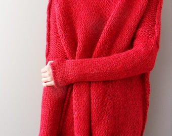 Valentines Slouchy  Bulky  Loose knitted alpaca sweater. Oversized red knit sweater  pullover dress Relaxed fit sweater. ef6f37a8310