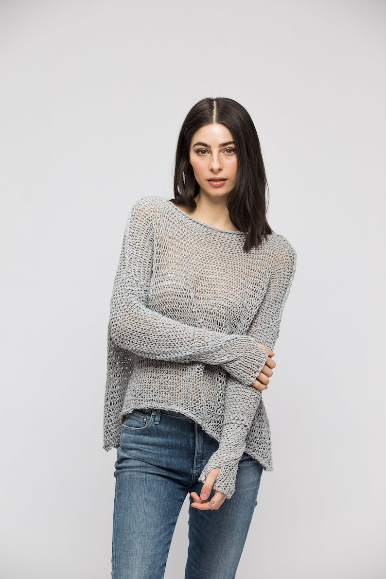 4a10786464158 Sweater Linen Cotton chunky knit sweater jumper pullover.