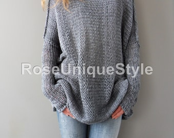 Sweater Oversized    Slouchy woman knit  sweater. Cotton blend,  loose knit sweater | Roseuniquestyle