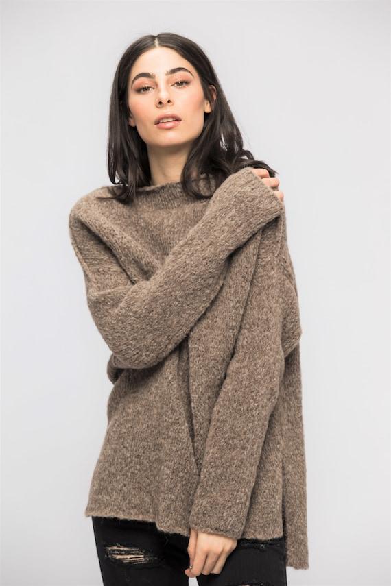 Knit sweater women, Alpaca Oversized knit woman sweater pullover dress , Loose slouchy knit sweater   Roseuniquestyle